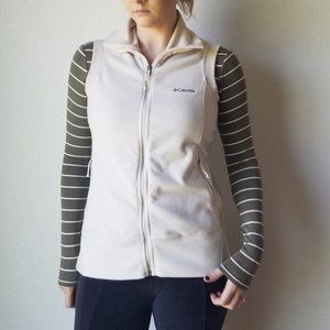 Columbia Ivory Fleece Zip Up Classic Vest - L GUC
